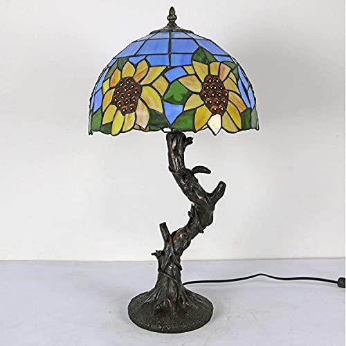 Lámpara de mesa de estilo Tiffany, lámpara de escritorio de la lámpara de cristal de rosa, lámparas de la ropa de noche de la resina para el regalo de iluminación del dormitorio del hotel 30 cm, b