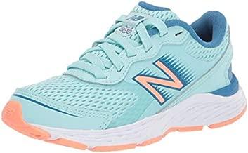 New Balance Girls' 680v6 Running Shoe, Bali Blue/MAKO Blue/Ginger Pink, 12 M US Little Kid