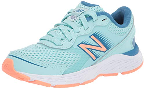 New Balance Kid's 680 V6 Lace-Up Running Shoe, Bali Blue/Mako Blue/Ginger Pink, 2 M US Little Kid