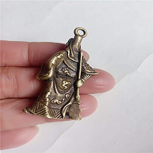XIAOXX Antike Messing Bronze Mini Tasche Zhongyi Messing Guan Gong Anhänger Schlüsselanhänger Antik