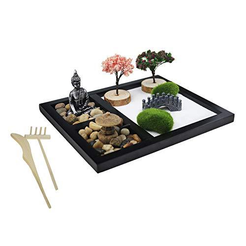 Baoblaze Mini Kit de decoración de Mesa de Oficina en casa con Bandeja de Arena de jardín Zen de meditación con Piedra, Figuras de Buda, Puente, árboles