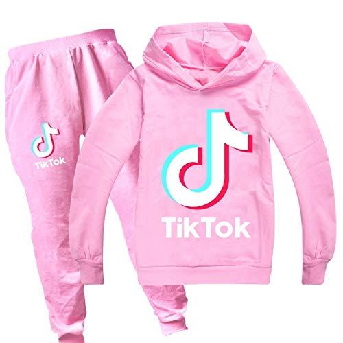 2020 TIK Tok - Conjunto de suéter de algodón para niños y niñas con capucha y pantalones Rosa rosa 150 cm