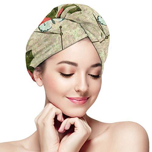 Papillons roses et vieille serviette de séchage de cheveux d'horloge - casquette de cheveux secs pour les femmes filles