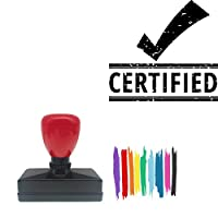 Certified Rectangle Badge Style Pre-Inked Stamp, Yellow Ink Included