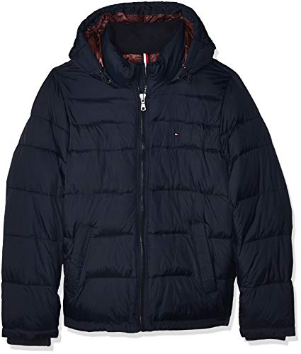Tommy Hilfiger Men's Classic Hooded Puffer Jacket (Standard and Big & Tall), Midnight, Large