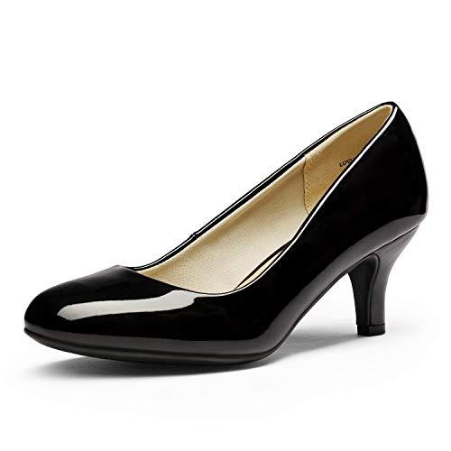 DREAM PAIRS Women's Luvly Black Pat Bridal Wedding Low Heel Pump Shoes - 11 M US