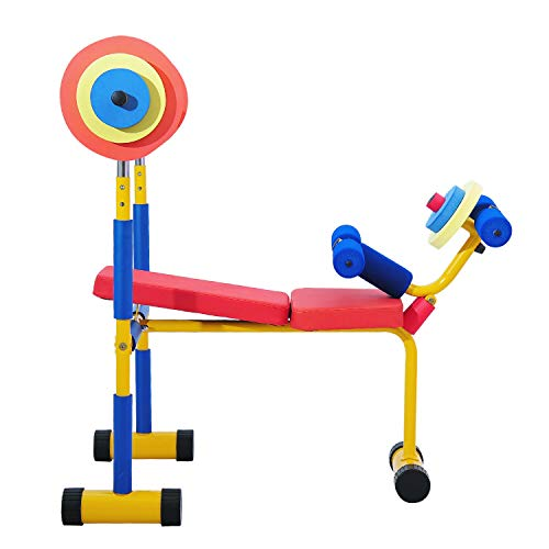 KINTNESS Fun and Fitness Exercise Equipment for Kids Weight Bench Set