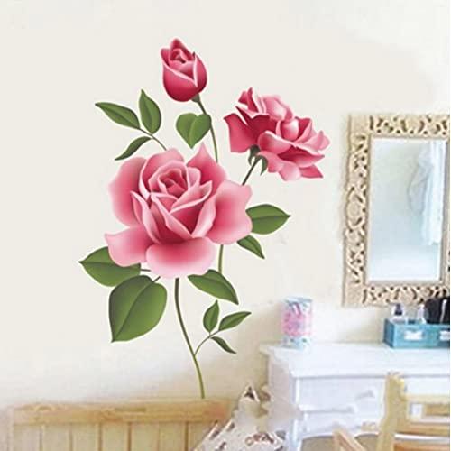 Romántico Rosa Flor Amor 3D Etiqueta De La Pared Decoración Del Hogar Sala De Estar Dormitorio Cocina Floristería Calcomanías Regalo Del Día De La Madre Decoración Del Hogar