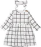 2PCS Toddler Kids Baby Girl Cotton Long Sleeve Princess Tutu Dress Headband Plaid Party Outfits (White1, 3-4 T)