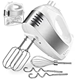 Five Variable Speed Settings and Extra Turbo Button: With a 250W motors and 5 different Speeds to help you whisk, mix and knead and the turbo of the hand mixer can help you more efficient and quick One Button Eject Design and Fix Stainless Steel Beat...