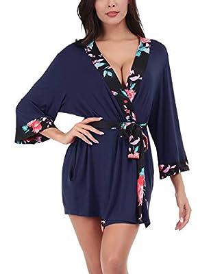 Women's Modal Cotton Kimono Robe Short Lightweight Bathrobe with Floral Print Contrast