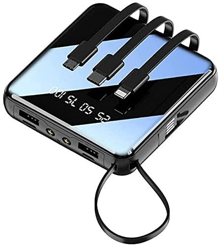 Fringe Trim Mini Banco De Energía Compacto, Cargador De Batería Externo Portátil Powerbank Led Luz Compatible con para iPhone 12 / 12pro / 12pro MAX / 12 Mini(Color:black-20000mah)