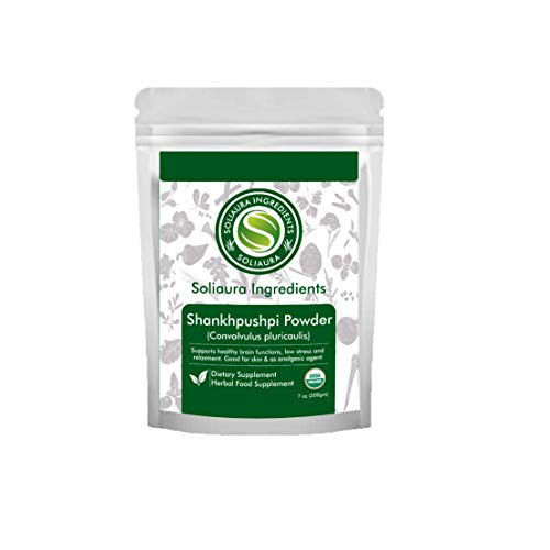 Organically Grown Shankhpushpi Powder | Convolvulus Pluricaulis | 7 Oz (200 gm) | Supports Healthy Brain Functions Low Stress & Relaxment Good for Skin - by Soliaura Ingredients