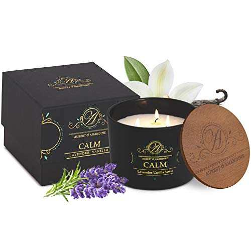 Luxury Scented Soy 3 Wick Candle for Stress Relief & Relaxation High Intensity Aromatherapy (Calm - Lavender Vanilla Candle)
