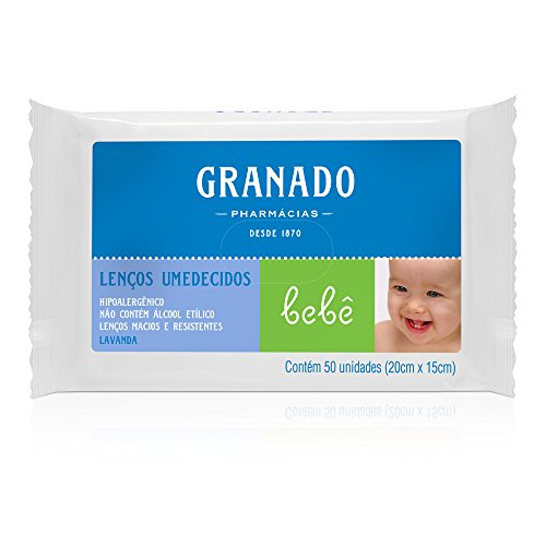 Lenço Umedecido Bebê Lavanda, Granado, Branco