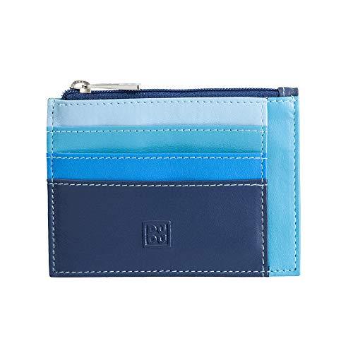 Bustina porta carte di credito in vera pelle colorata portafogli con zip DUDU Blu