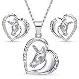 Einhorn Zirkonia Herz Pferd Set 925 echt Sterling-Silber Mädchen Kinder Ohrstecker Anhänger mit Kette (Klar, 38)
