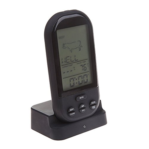 Best Review Of Fasclot New Wireless LCD Remote Thermometer for BBQ Grill Meat Kitchen Oven Food Cook...