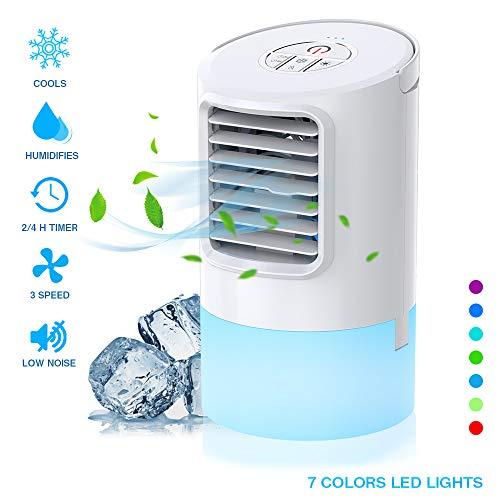 Nobebird mobile Klimagerät Klimaanlage Luftkühler tragbar Ventilator Luftbefeuchtung, 2 Timing, 3 Windgeschwindigkeiten,7 verschiedene Farben,Weiß