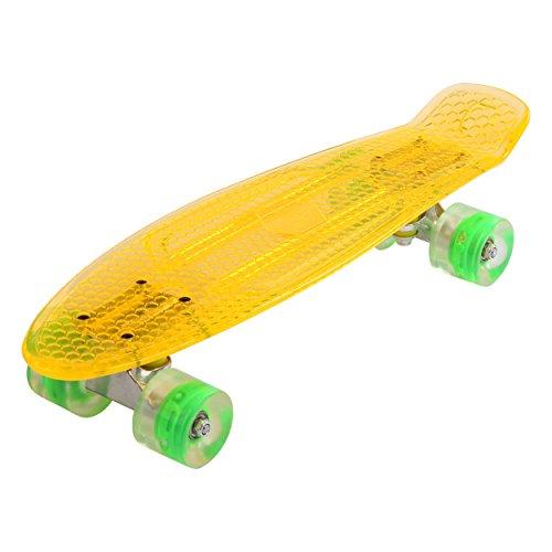 Maronad transparent Retro Skateboard LED klarer leuchtrollen ABEC 7 (Orange)