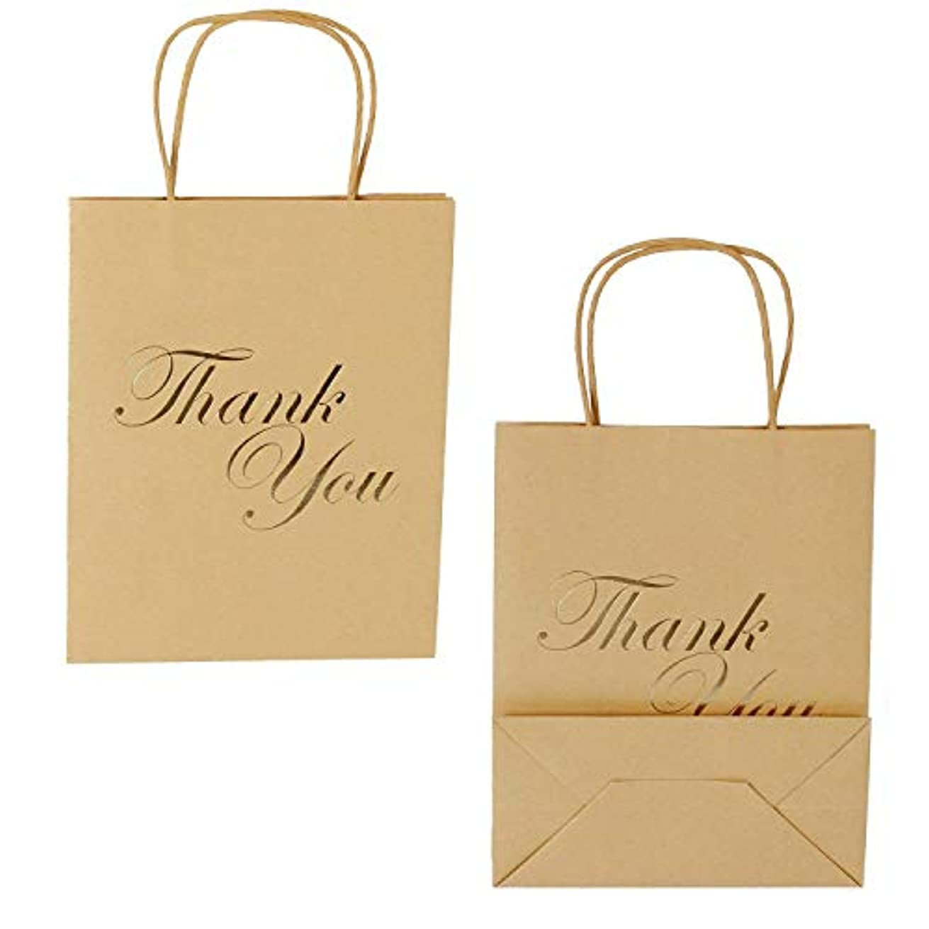 LaRibbons Medium Size Gift Bags - Gold Foil Thank You Brown Paper Bags with Handles for Wedding, Birthday, Baby Shower, Party Favors - 25 Pack - 8