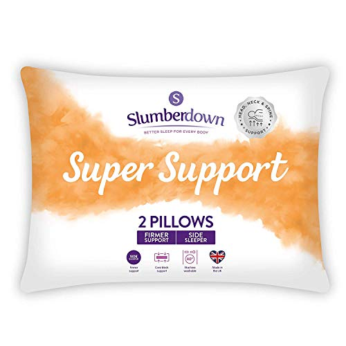 Slumberdown Super Support White Pillows 2 Pack Firm Support Designed for Back and Side Sleepers Bed Pillows