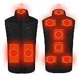 SXZSB Chaleco Calefactable Ropa Climatizada Unisex para Hombres Mujeres, Chaqueta Climatizada Eléctrica USB Ligera con 3 Niveles De Calefacción Tamaño Ajustable para El Senderismo,Negro,3XL