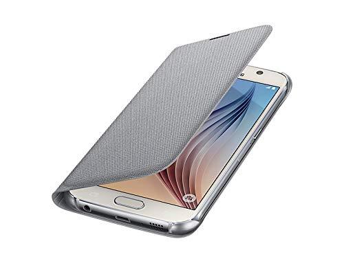 Samsung Fabric Folio Wallet Schutzhülle Case Cover mit Kreditkartenfach für Galaxy S6, silber