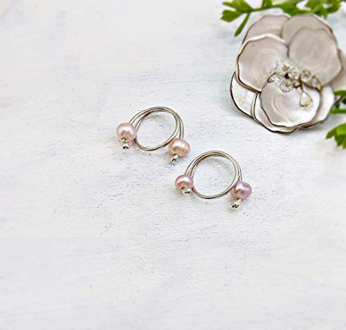 Pink pearls Nipple noose Non Pierrcing Silver Nipple Rings Sterling silver jewelry