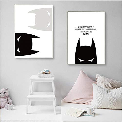 AmilArt Dibujos Animados Batman Cita Inspirada Cartel de Lienzo Decoración Infantil Láminas artísticas Cuadro de Pared para niños Decoración de la Sala 40X60CMx2 Sin Marco