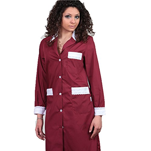 Bawełniana bluzka dla kelnerek lub kobiet do czyszczenia, bordowa, 48
