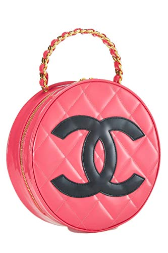 CHANEL Pink Quilted Patent Leather Round CC Bag (Renewed)