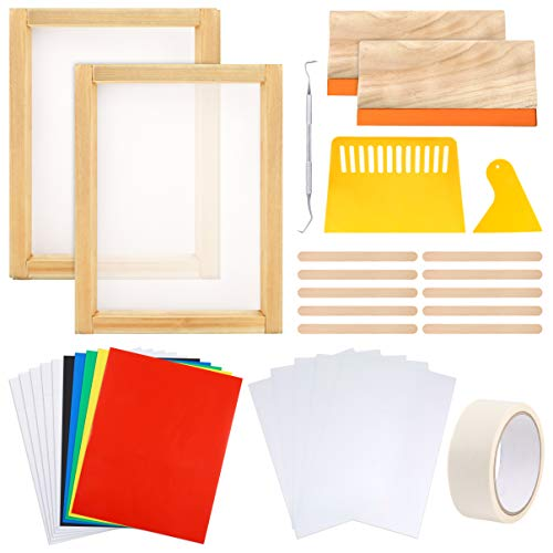 Caydo 33 Pieces Vinyl Screen Printing kit, Include 2 Pieces 10 x 14 Inch Wood Screen Printing Frame, Vinyl Sheets, Transfer Tape Sheets, Inkjet Transparency Film, Squeegees and Mask Tape