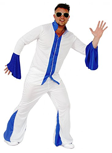 Foxxeo Weißer Disco Anzug Herrenkostüm 70er Jahre Overall Jumpsuit Kostüm Disco für Herren Größe M