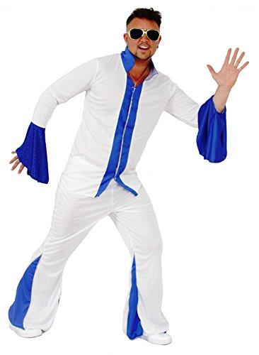 Foxxeo Weißer Disco Anzug Herrenkostüm 70er Jahre Overall Jumpsuit Kostüm Disco für Herren Größe XXL