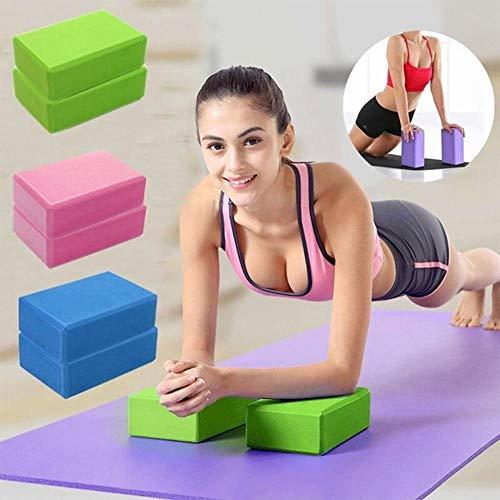 TOUA EVA Yoga Block Brick Foaming Foam Stretching Exercise Pilates Brick Non-Toxic Yoga Fitness Dance Aids, Set of 2