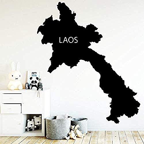 Wandaufkleber,Mode Kreative Karte Laos Wandaufkleber Abnehmbare Selbst Tapete Kleber Watercolo Wohnzimmer Kinderzimmer Wanddekoration 57x67cm