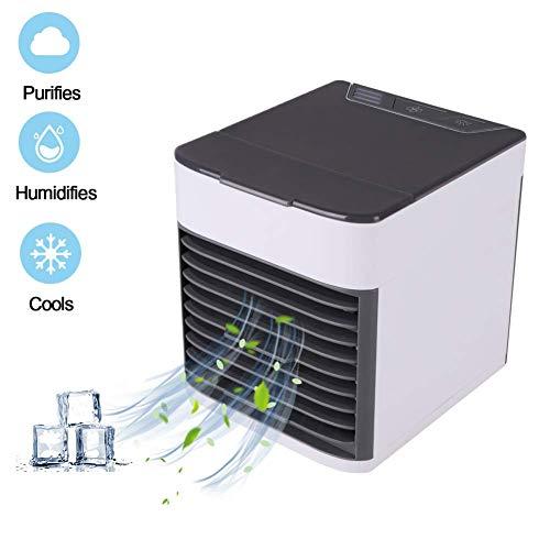 Balai Ventilador de refrigeración de Aire por evaporación Alimentado por USB, purificador humidificador silencioso portátil con una Velocidad Ajustable a 3 para Camping Ambulante