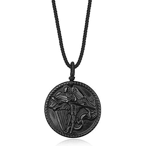 COAI Pendente in Ossidiana Nera con San Michele Intarsiato, Collana Pendente da Uomo in Pietre Naturali Laccio Regolabile