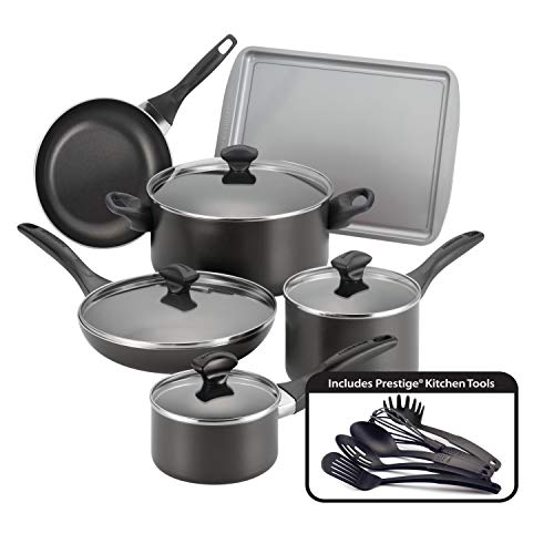 Farberware Dishwasher Safe Nonstick Cookware Pots and Pans Set, 15 Piece, Black