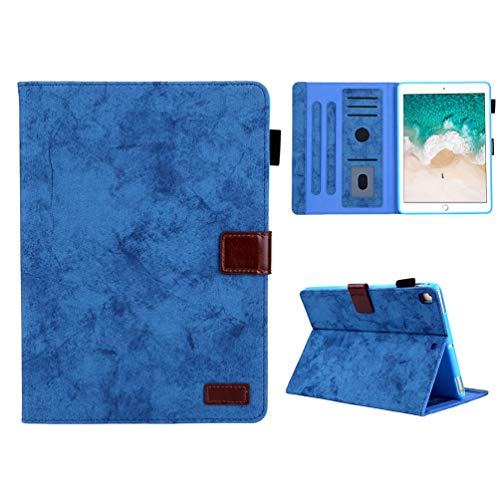 Vogu'SaNa Compatible for Tablet Case iPad 10.2 2019 Case PU Leather Case Protective Case Jeans Flip Cover Sleep Wake Cover Flip Case Stand Compartments Magnetic Lid Shell Bumper Dark Blue