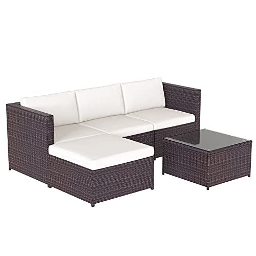 QWEEI 5 Pieces Patio Furniture Sectional Set, Outdoor Patio Furniture Couch Set Sectional Rattan Sofa Sets, All Weather Conversation Couch with Tempered Glass Coffee Table