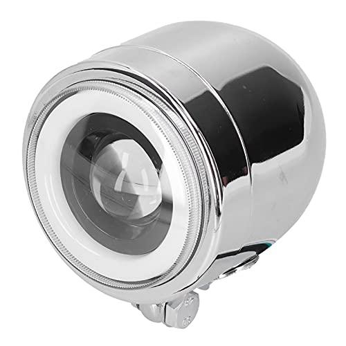 Hapivida Faro Universale per Moto da 4,25 Pollici LED Abbagliante Anabbagliante per Moto retrò con Doppio Faro Cromato(Bianca)