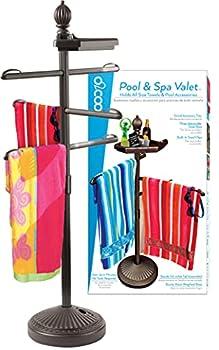 O2COOL Pool & Spa Valet Adjustable Pool & Patio Towel Holder Towel Holder Towel Bar Poolside Table Poolside Towel Holder Weighted Base Outdoor Towel Holder O2COOL Pool Valet ,Brown