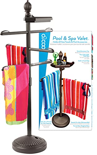 O2COOL Pool & Spa Valet, Adjustable Pool & Patio Towel Holder, Towel Holder, Towel Bar, Poolside Table, Poolside Towel Holder, Weighted Base Outdoor Towel Holder, O2COOL, Pool Valet ,Brown