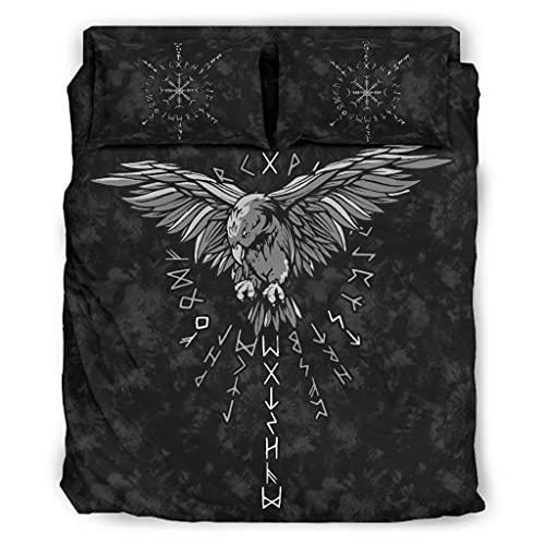Juego de sábanas de 4 piezas Viking Odin Raven Rune Colecciones de ropa de cama acogedor, suave, sin arrugas, para el hogar, dormitorio, blanco, 228 x 228 cm