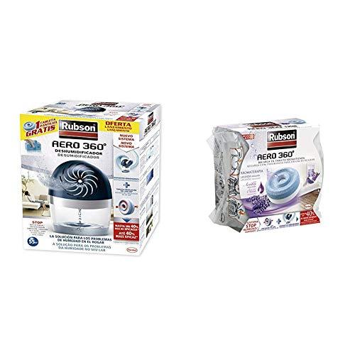 Rubson Aero 360 450 G deshumificador que limpia el aire, el olor y evita el moho & Recambios para deshumificador Aero 360, color morado, olor lavanda