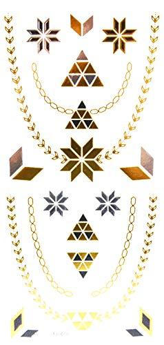 Oh My Shop - TJ10 - Planche Tattoo Tatouage Ephémère Body Art Triangles et Chevrons - Argent/Or/Noir