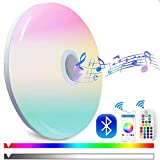 Plafóns LED Lámparas de Techo con APP Altavoz Bluetooth RGB Colores,3000k,6500k,Control de APP,Remoto,Temporizador Lámpara(50W-BT-RGBW-45CM)