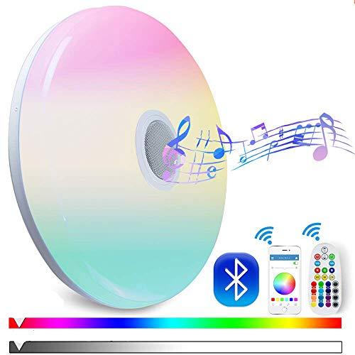 Nicetai 50W Deckenleuchte mit Bluetooth Lautsprecher Fernbedienung und APP-Steuerung Farbwechsel, dimmbar, Warmweiss- Kaltweiss, 2800-6500 Kelvin, RGB Umgebungslicht